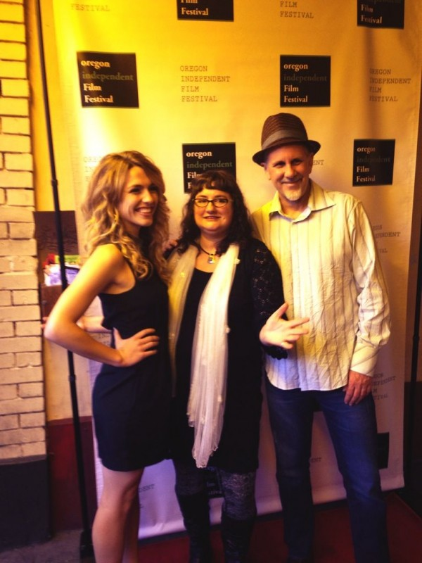 Alis Volat Propriis stars Katie Michels and Randall Jahnson, and writer Haley Isleib at the 2013 OIFF Awards Ceremony