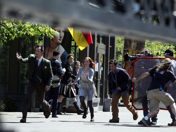 Noah Wyle, Lindy Booth and Christian Kane shoot a scene in the new TNT series called The Librarians in the Capitol mall area Wednesday, April 30, 2014. (Photo: KOBBI R. BLAIR   Statesman Journal)
