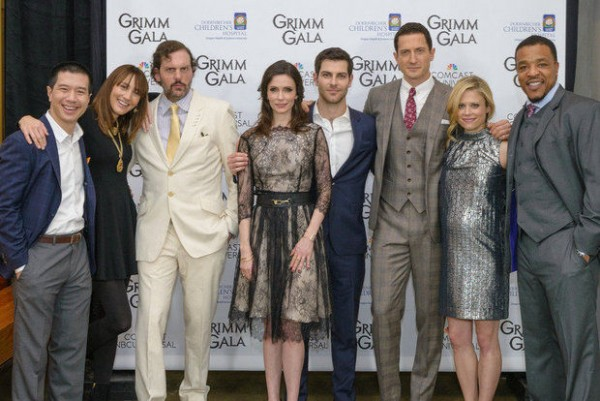 "The cast of ""Grimm"" at the February ""Grimm Gala"": Left to right: Reggie Lee, Bree Turner, Silas Weir Mitchell, Bitsie Tulloch, David Giuntoli, Sasha Roiz, Claire Coffee, Russell Hornsby at the Exchange Ballroom in support of OHSU Doernbecher Children's Hospital (NBC)"